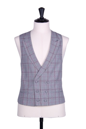 Prince of Wales double breasted pink wedding waistcoat