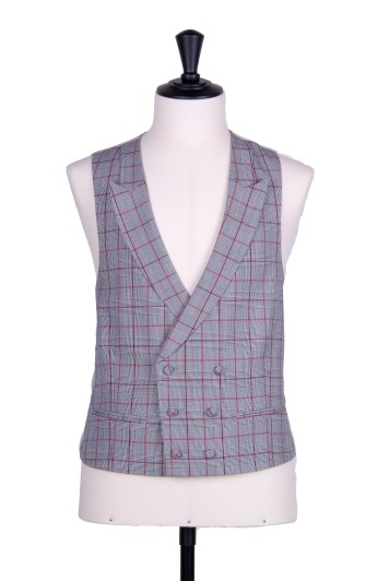 Prince of Wales double breasted burgundy wedding waistcoat