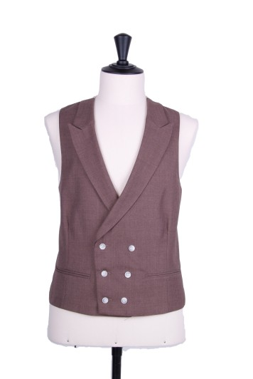 Ascot double breasted beige wedding waistcoat