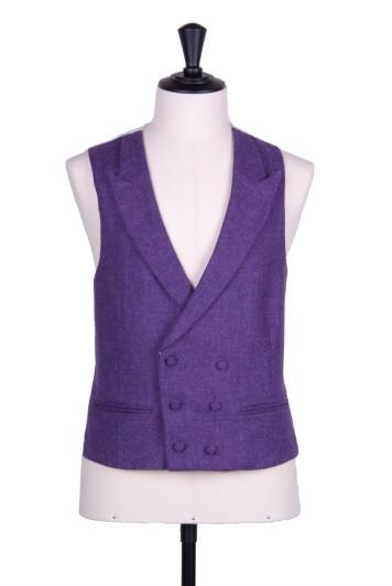 Purple tweed DB Grooms wedding waistcoat
