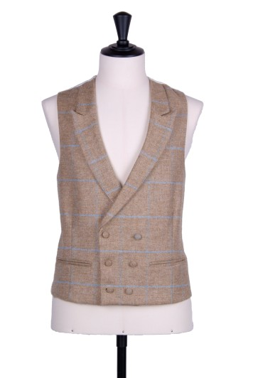 Tweed sand check Grooms wedding waistcoat DB