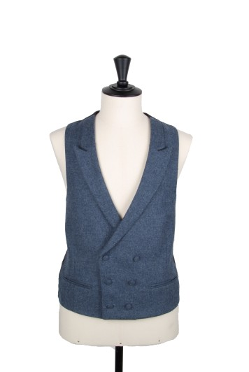 Tweed dark blue Grooms wedding waistcoat DB