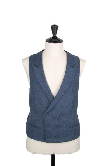 Tweed dark blue Grooms wedding waistcoat DB