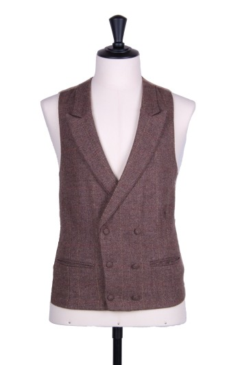 Brown tweed wedding waistcoat DB
