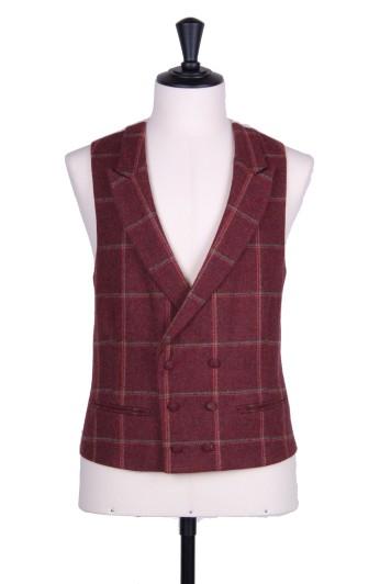 English tweed burgundy check double breasted Grooms wedding waistcoat