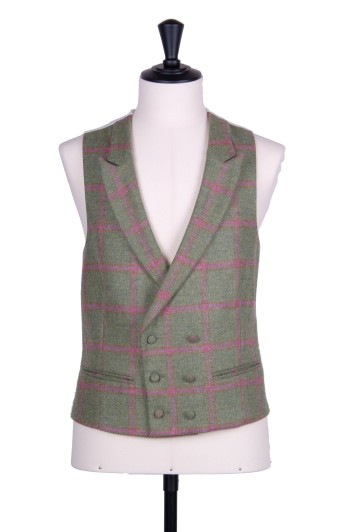 English tweed green & pink check DB Grooms wedding waistcoat