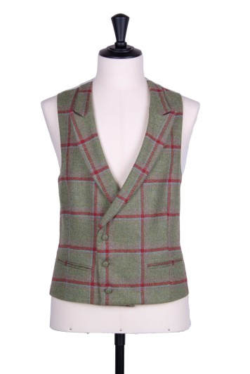 English tweed green & red check DB Grooms wedding waistcoat