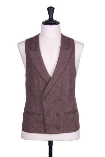 Tweed brown check Grooms wedding waistcoat DB
