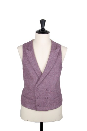 Tweed light purple Grooms wedding waistcoat DB