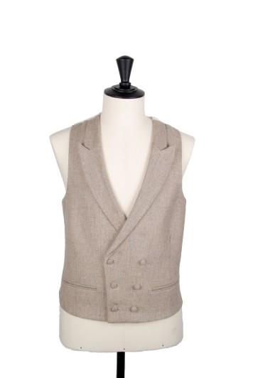 English tweed natural beige waistcoat groom wedding DB