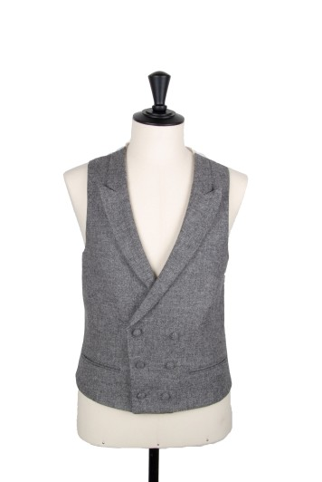 Tweed grey waistcoat groom wedding DB