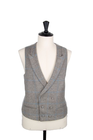 Tweed grey & blue check Grooms wedding waistcoat DB