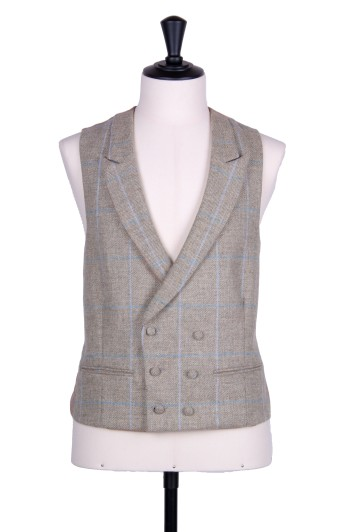 Tweed sage green check DB Grooms wedding waistcoat