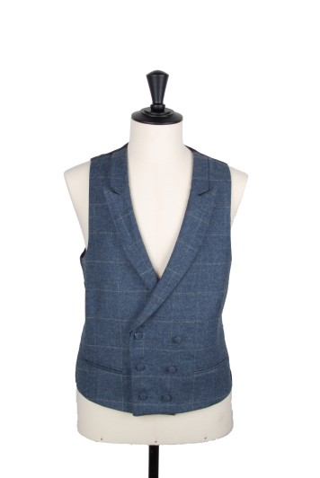 Tweed blue & grey check DB waistcoat