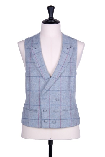 Tweed sky blue check DB Grooms wedding waistcoat