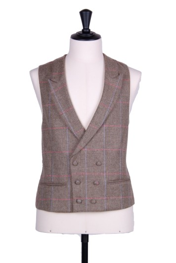 Tweed latte & blue check DB Grooms wedding waistcoat