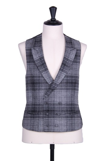 Tweed slate grey check DB Grooms wedding waistcoat