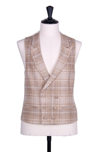 Tweed sand check DB Grooms wedding waistcoat