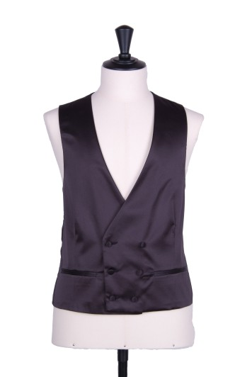 Satin black DB Grooms wedding waistcoat