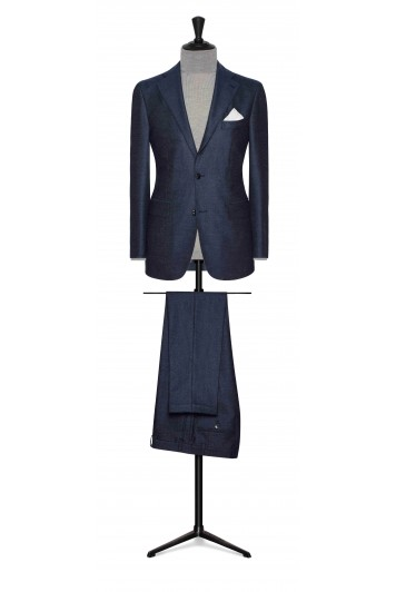 denim blue brushed comfort wool wedding suit