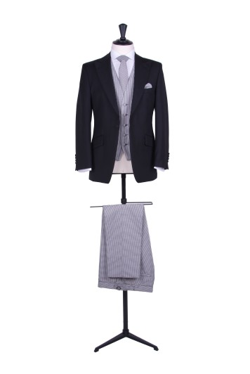 Slim fit black wedding lounge suit with dogtooth trousers to hire