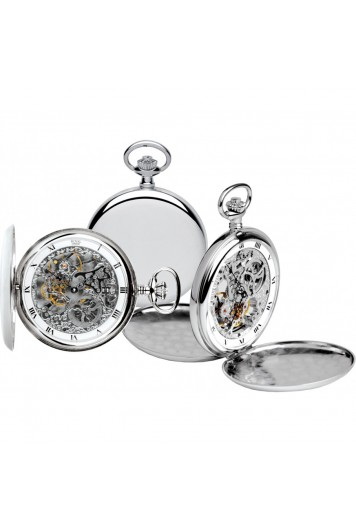 Double hunter stainless steel silver pocket watch