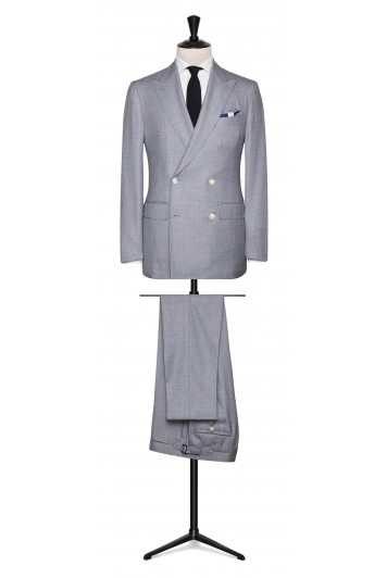 Blue-Grey melange sharkskin with light Blue windowpane made to measure suit