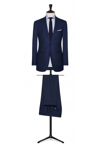 mid blue wool check with fine white windowpane wedding suit