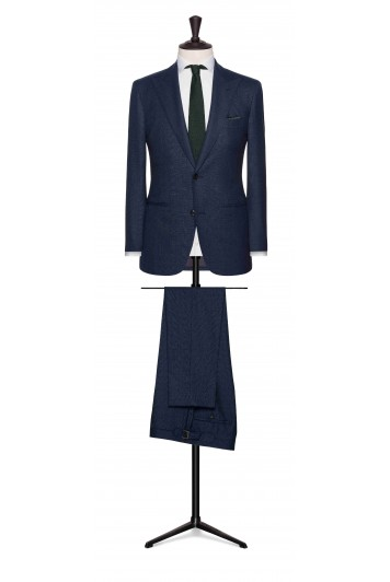 mid blue wool check wedding suit