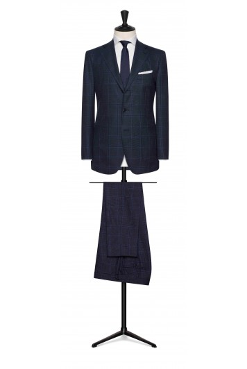 navy blue-black wool with wide windowpane wedding suit