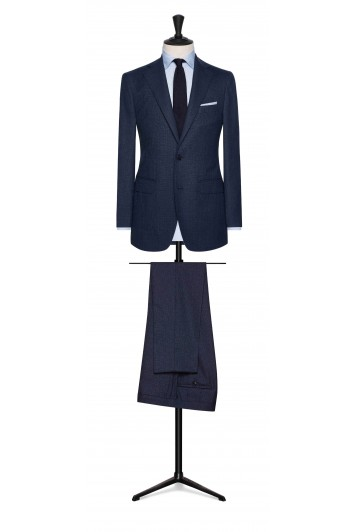 navy blue-black wool with fine check wedding suit