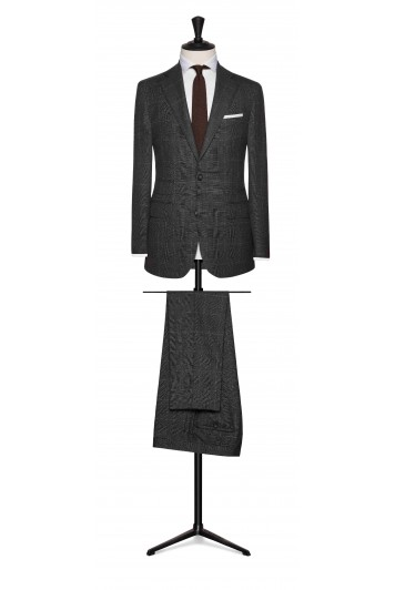 mid grey wool check with fine white windowpane wedding suit