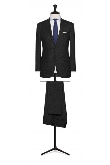 dark grey wool check wedding suit