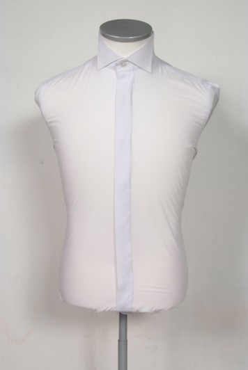 French wing collar white wedding shirt