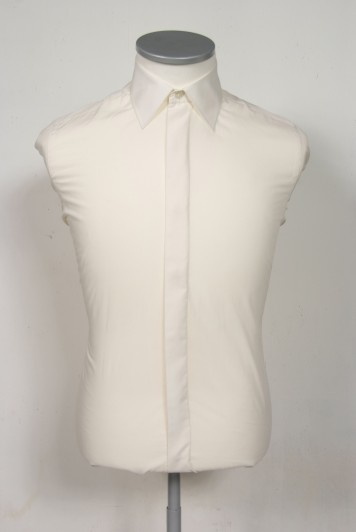 Regular collar slim fit ivory wedding shirt