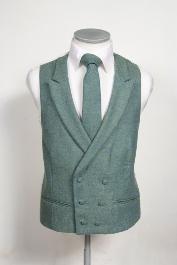Green tweed Grooms wedding waistcoat DB