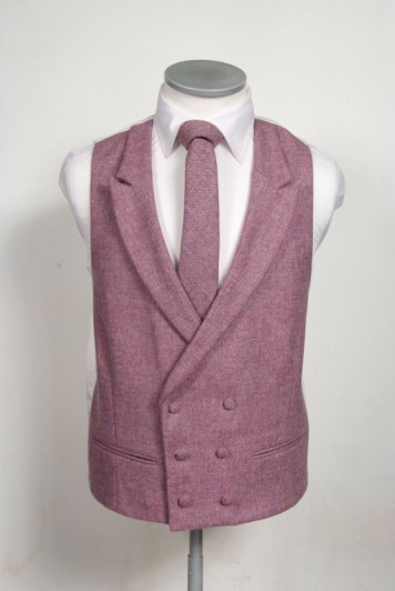 Tweed dark pink Grooms wedding waistcoat DB