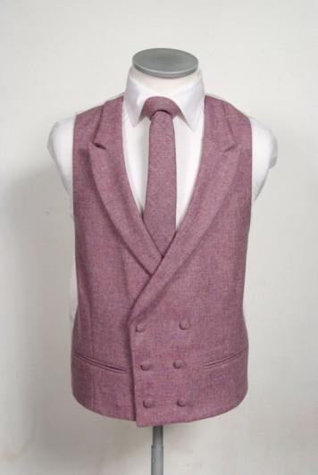 Tweed dark pink Grooms wedding waistcoat DB