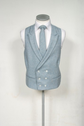 Tweed sky blue Groom wedding waistcoat DB