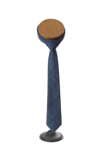 dark blue tweed Grooms wedding tie