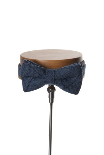 Tweed dark blue navy check Grooms wedding bow tie