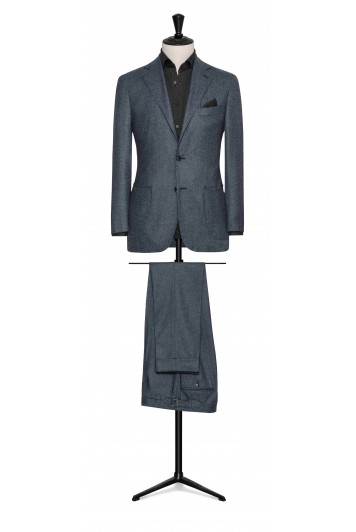 slate blue flannel wedding suit