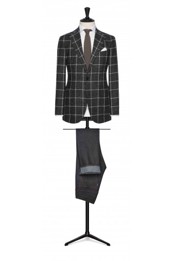 forest green mouliné with white windowpane wedding jacket