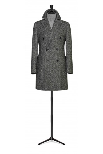 forest green wool-alpaca herringbone double breasted overcoat