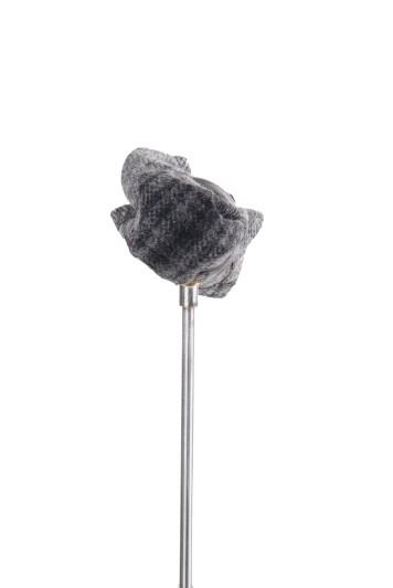 Tweed dark grey check Grooms wedding pocket square