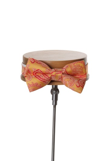Come together gold paisley wedding bow tie