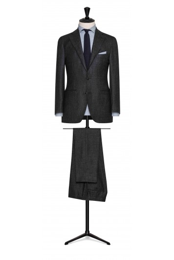 green-midnight blue wool-silk-linen houndstooth wedding suit for groom