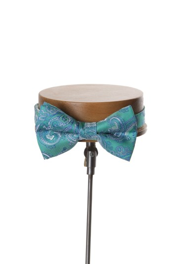 Come together green paisley wedding bow tie