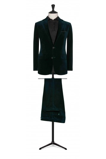 grooms dark green fine corduroy wedding suit