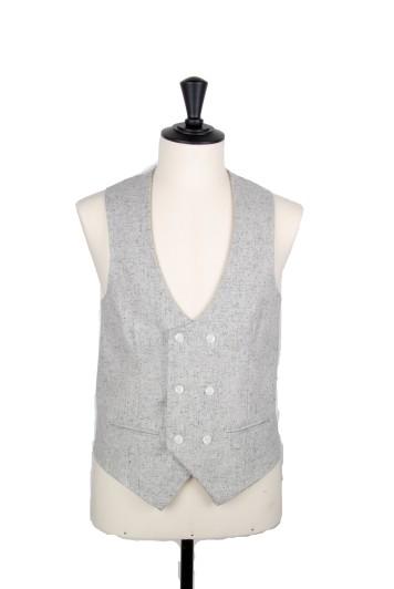Fleck grey DB scoop grooms wedding waistcoat